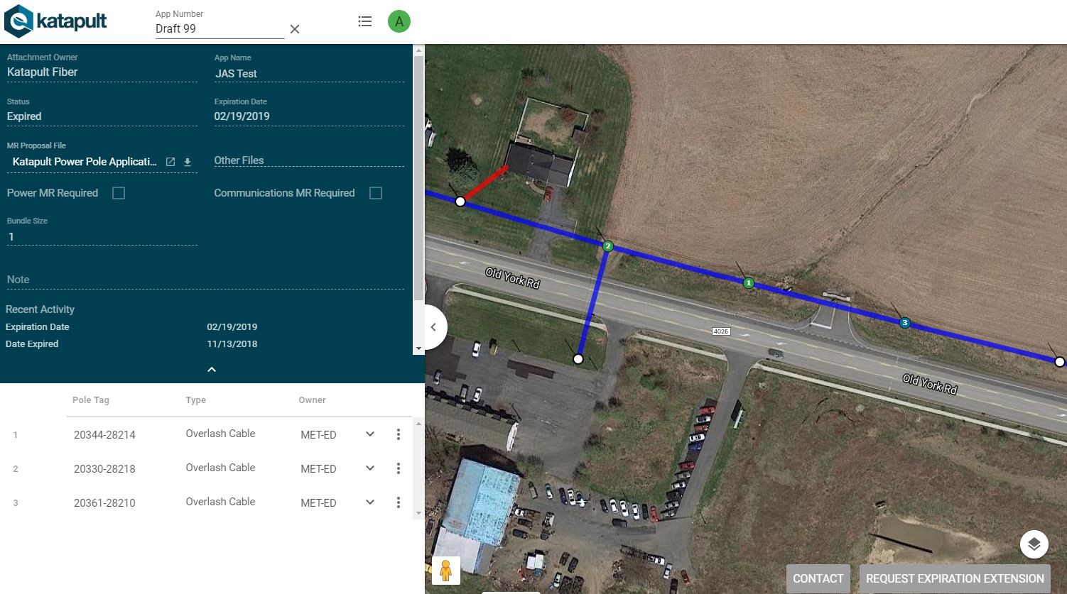 Katapult's pole application portal with google maps API underlain