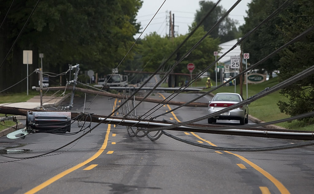 Downed utility poles in Paxton Township, PA from PennLive.com