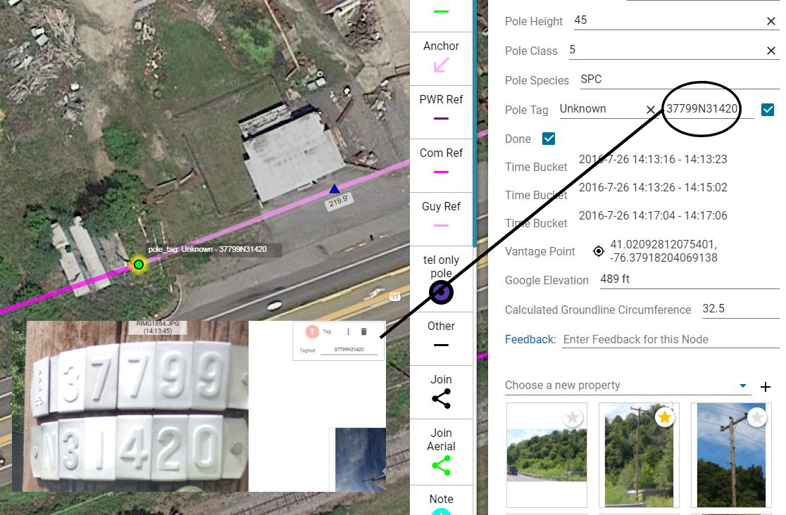 user interface of KatapultPro that's looking at pole data