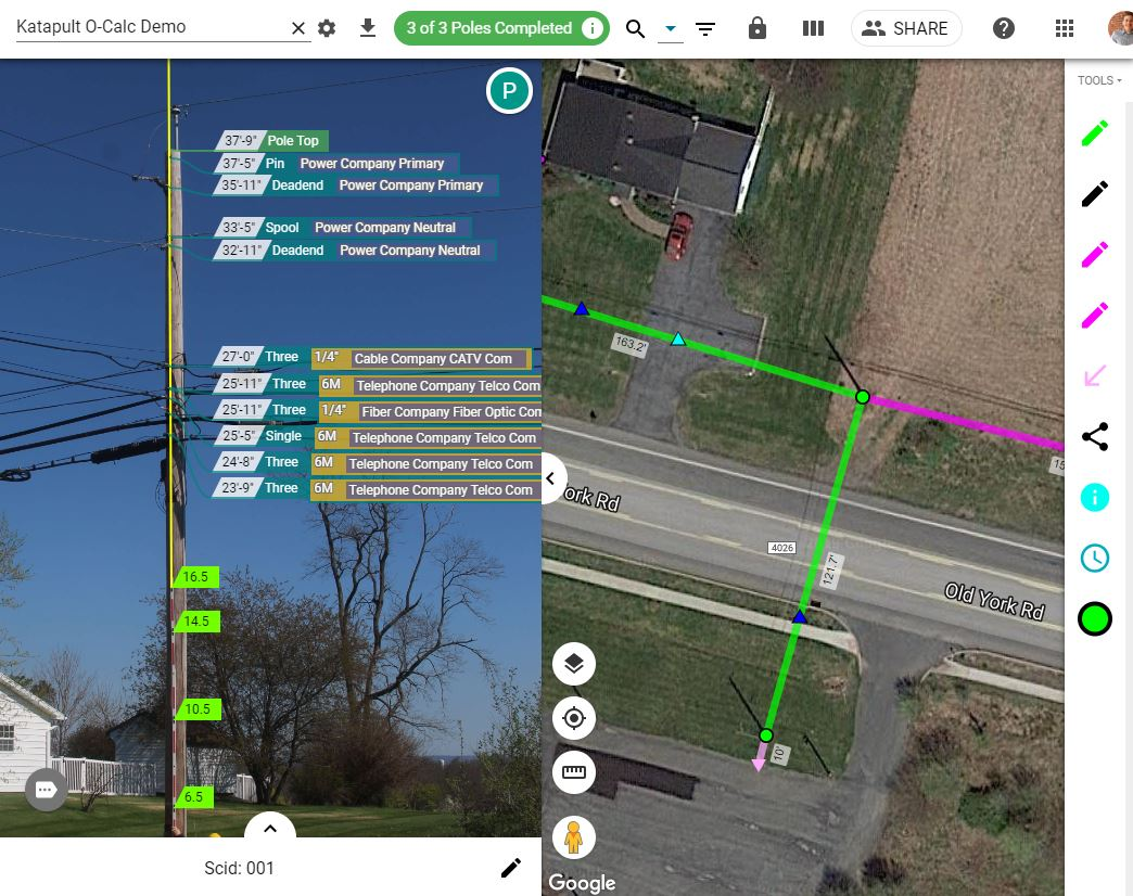 Katapult Pro's user interface for annotation telephone poles