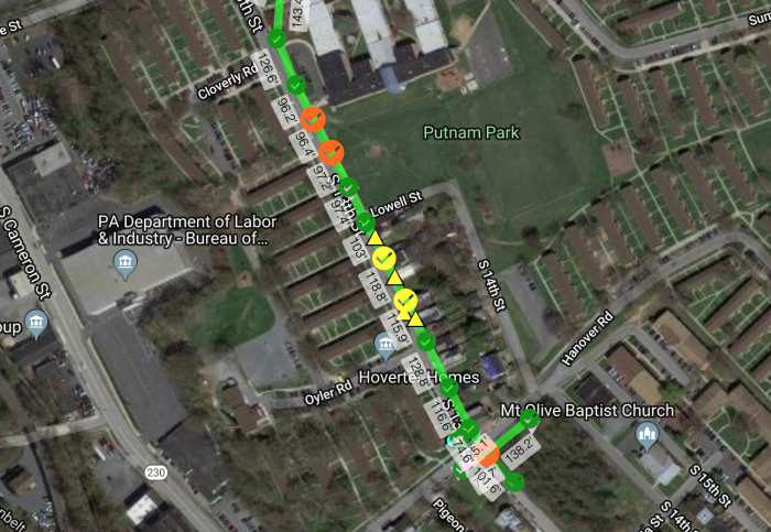 a heatmap that shows the pole costs overlayed on google maps