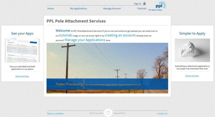 user interface for PPL's Pole attachment service portal