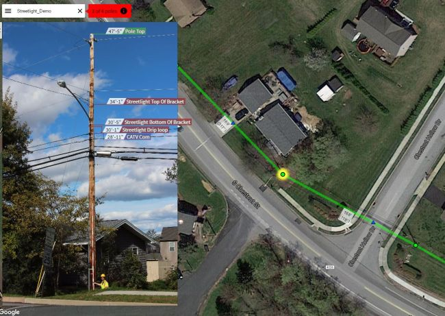 Photo deliverable, showing the measurements of a pole located on a map displayed in Katapult Pro.