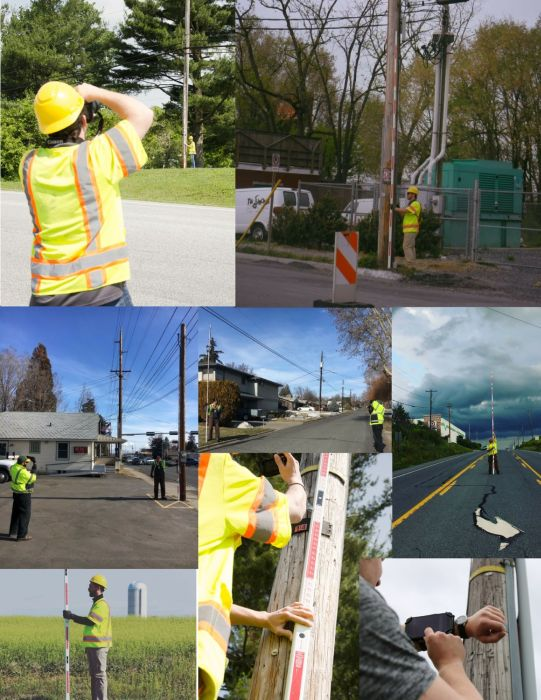 various pictures of Katapult crews recording telephone data while in the field