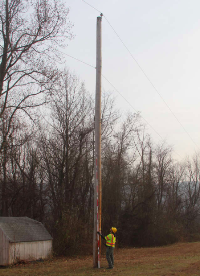 a height shot of the pole, using the 17 foot height stick
