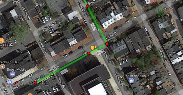 KatapultPro's mapping software with an overlay showing you which way Google street view is looking