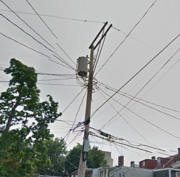 google street view's view of a telephone pole