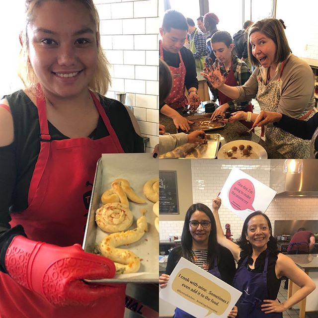 We are delighted seeing our guests enjoy themselves. #funwithfood  #sanjose #onthealameda #cookingclasses