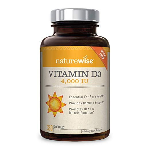 NatureWise Vitamin D3 4,000 IU for Healthy Muscle Function, Bone Health, and Immune Support | Non-GMO and Gluten-Free in Cold-Pressed Organic Olive Oil Capsule [1-Year Supply - 360 Count