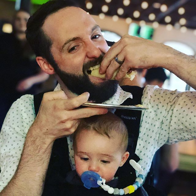 """When you've achieved Level 10 in the """"Dad Game""""!! 🤣🤘🌮 👶 . . #dadgamestrong #tacohead #beersandbabies #crushing #epiceats #precariousbeerproject"""