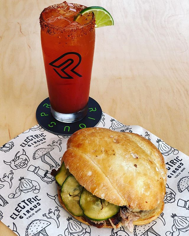 Today Brunch Feature is a Mojo Pork Belly Torta! This sandwich has both mojo barbacoa and pork belly. Topped with house made pickles, chihuahua cheese and mezcal mustard. Paired with a michelada from @precariousbeerproject. #torta #michelada #williamsburgva #pork #virginiaeats