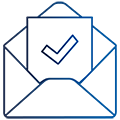 Open envelope containing a letter with a checkmark.