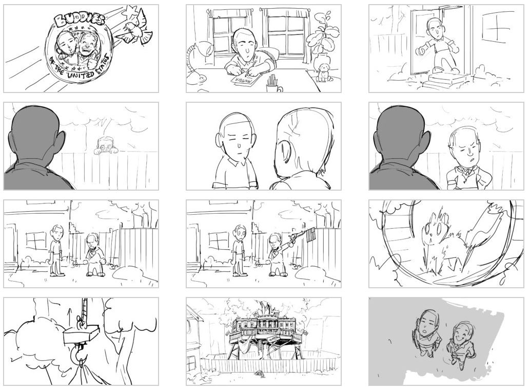 Select frames from our BOTUS storyboard
