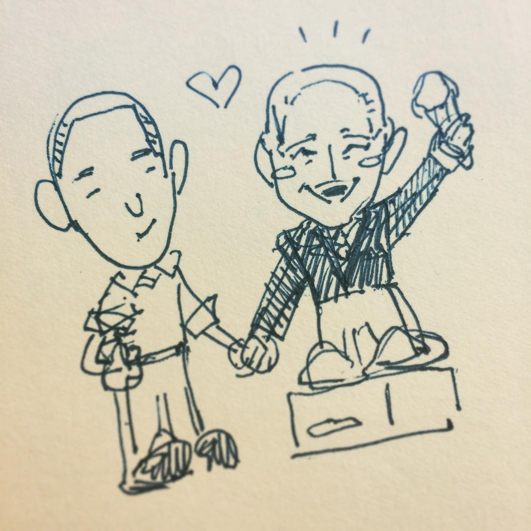 "The first ""napkin sketch"" of our two buddies, Barack Obama and Joe Biden"