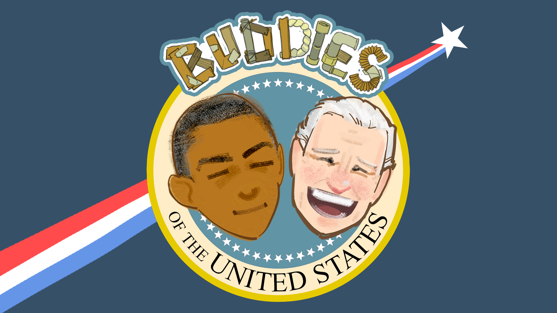 Final logo for BOTUS: a combination of the Seal of the President of the United States  along with the handmade jury-rigging of Joe Biden's tree house.