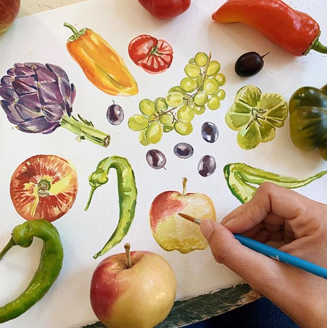 Join us for Fall produce watercolor painting with the luminous @maria_schoettler on Sunday, October 20 from 3-5:30pm. The workshop will be held at @simpatico.ca - a beautiful new shop in Felton - looking forward to being in that gorgeous space and making beautiful, seasonal art! 🍁🍂#holdfaststudioschool #watercolorworkshop #watercolorpainting