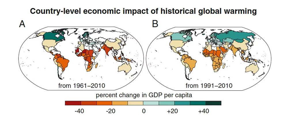 Global warming has increased global economic inequality. Noah Diffenbaugh & Marshall Burke/Author provided