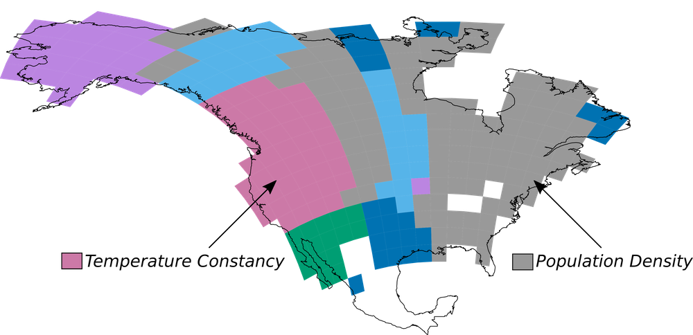 Language diversification in different regions may have been driven by different factors. In some places, like the areas in pink, temperature variability might have been most important. Other possible factors include population density (gray), precipitation constancy (light blue), topographic complexity (dark blue), carrying capacity with group size limits (green) and climate change velocity (purple).    Modified from Coelho et al. RSPB 2019   ,    CC BY