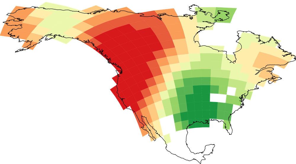 The model's ability to predict the number of languages varied from excellent in some places (red) to poor in others (green).   Modified from Coelho et al. RSPB 2019   ,    CC BY
