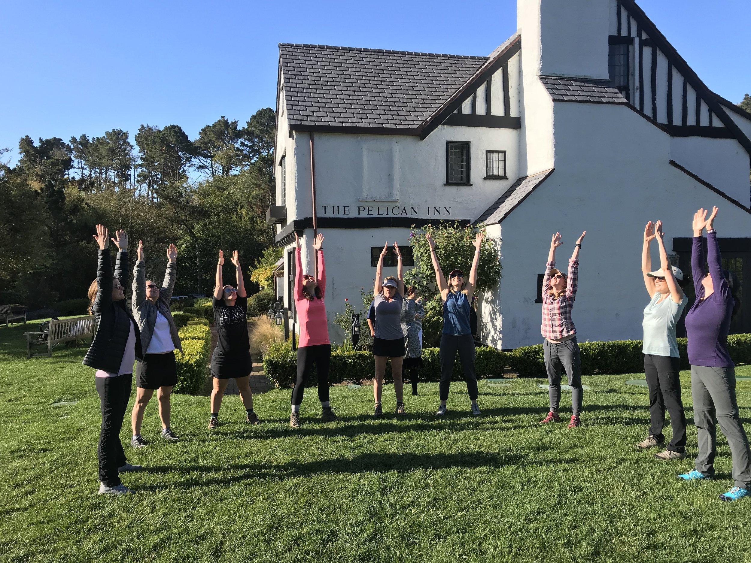 Morning yoga at Pelican Inn