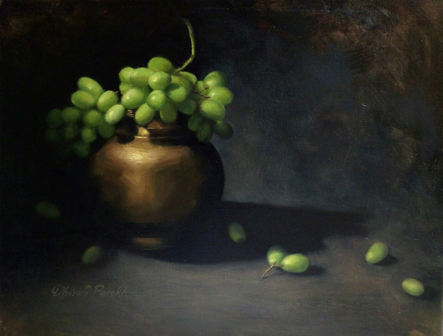 Brass and Grapes  20 x 16  Oil on Canvas