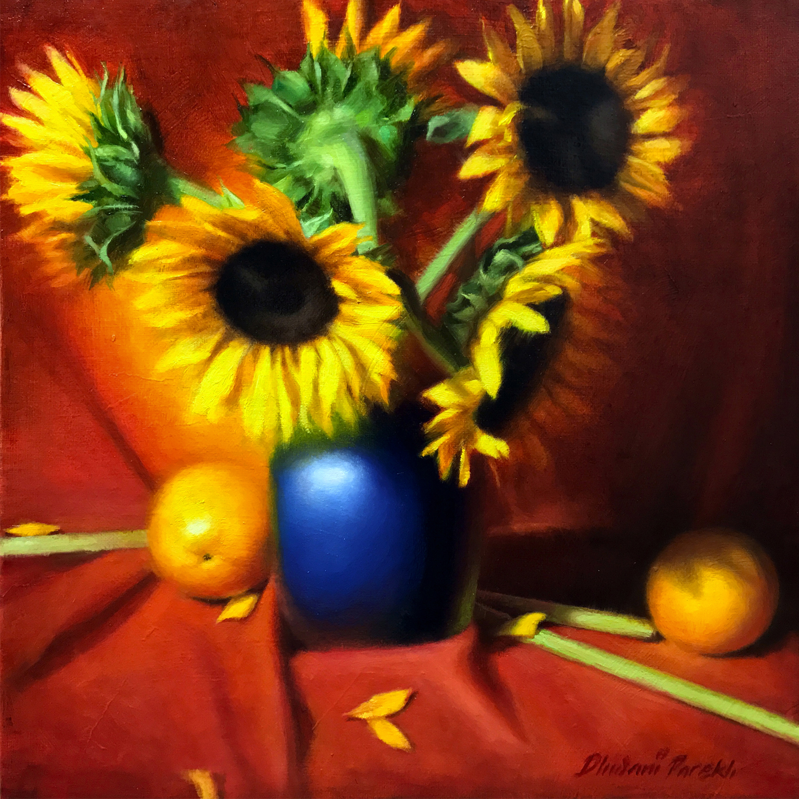 Sunflowers  15 x 15  Oil on Canvas