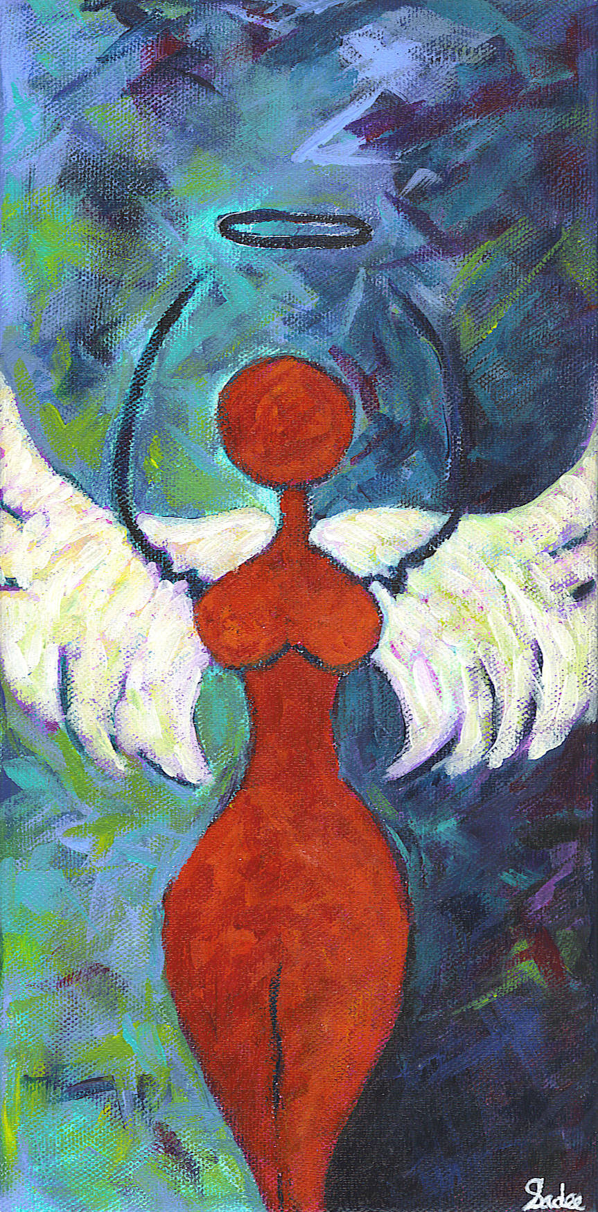 Hot Mama Angel  Acrylic on Canvas 12 x 6 in.