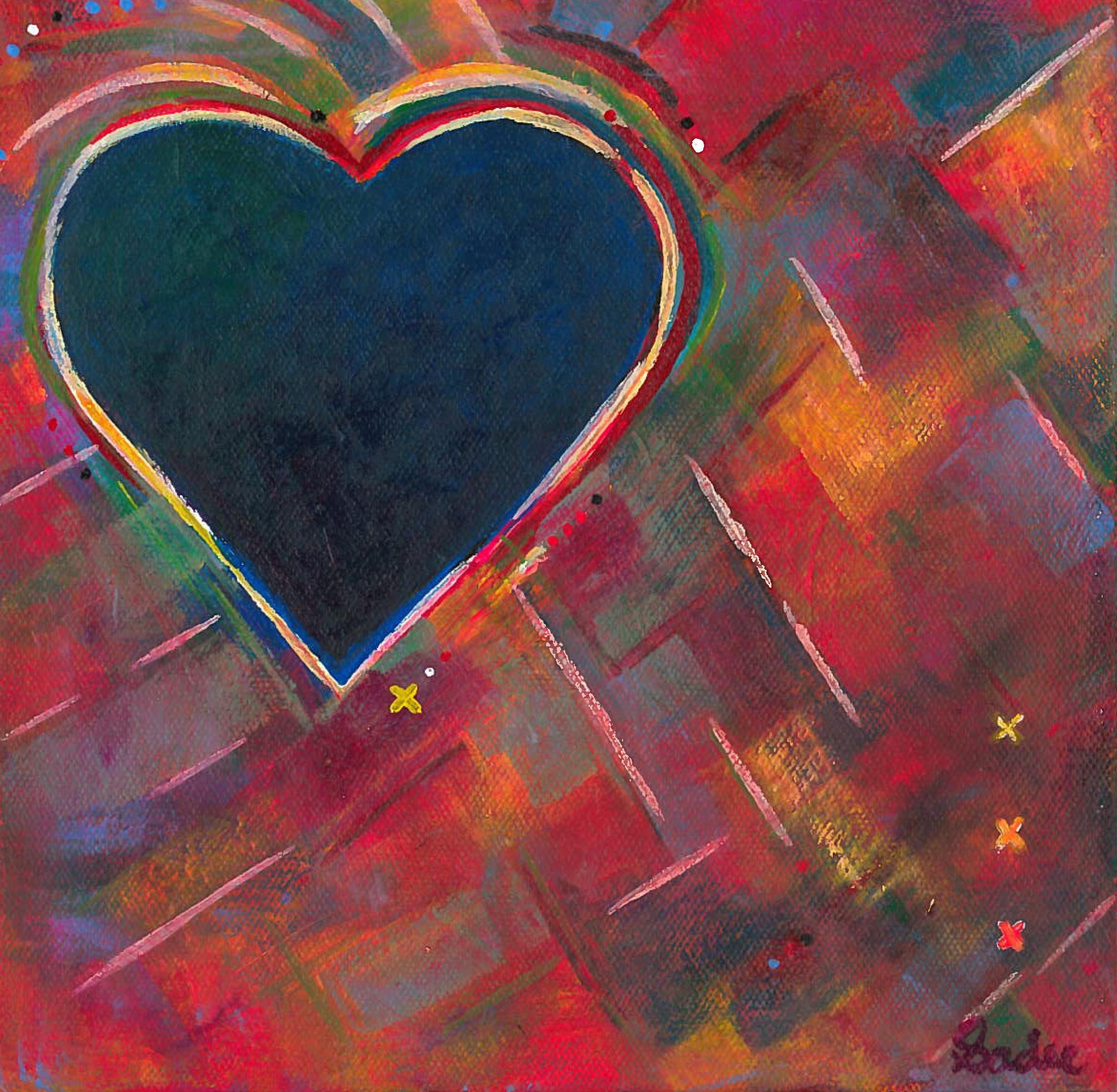 Blue Heart on Rainbow  Acrylic on Canvas 8 x 8 in.