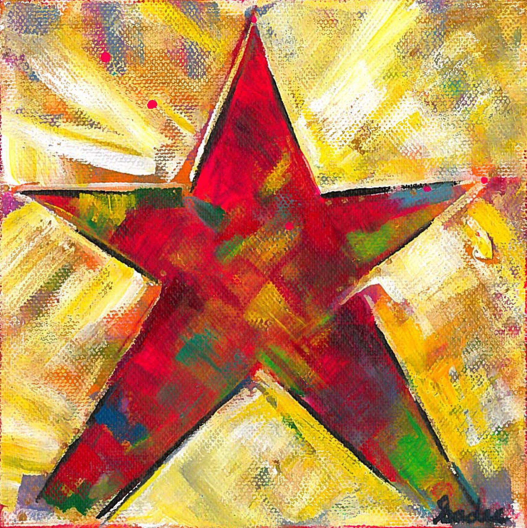 Rainbow Star  Acrylic on Canvas 6 x 6 in.