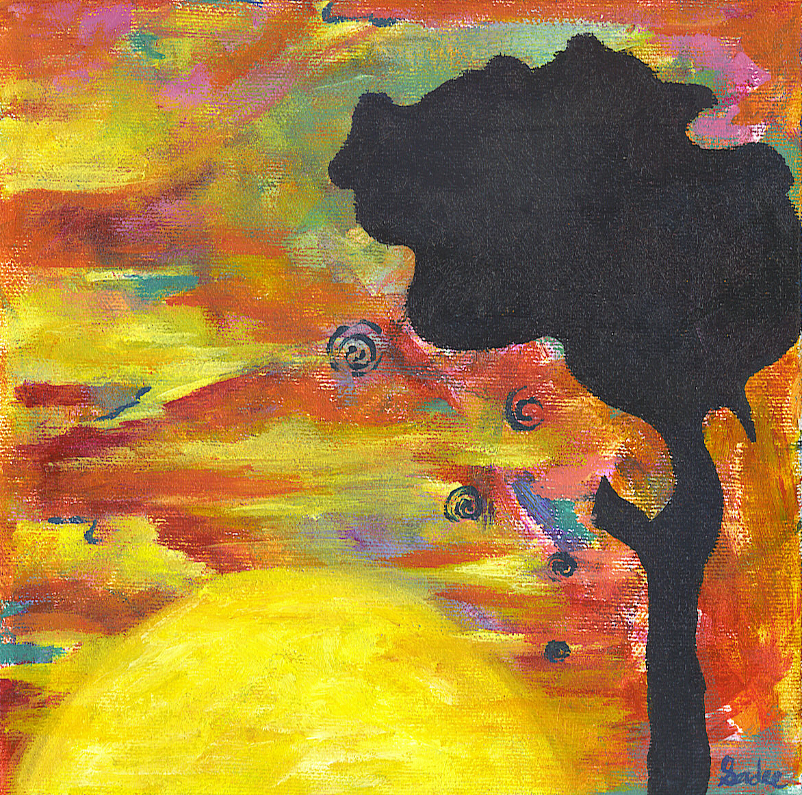 Sunrise Sunset  Acrylic on Canvas 8 x 8 in.