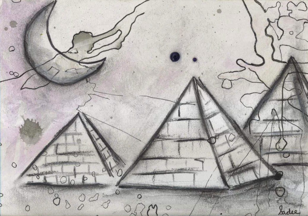 Untitled 11 (Pyramids)  Mixed Media on Paper 5 x 7 in.