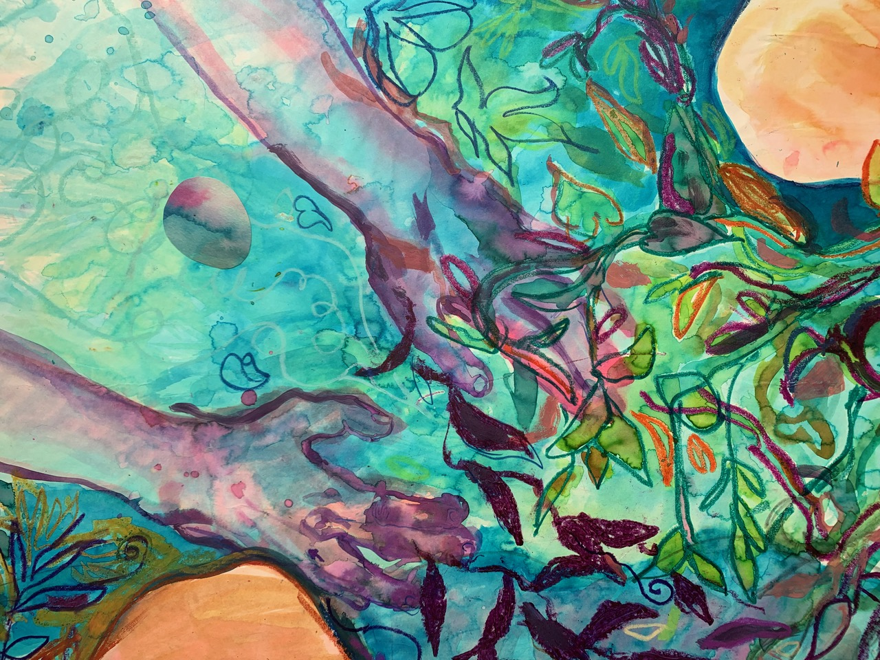 """Detail from Lucy Plowe's """"Primeval Waters"""". Watercolor and mixed media on paper, mounted on canvas, 52x40"""". 2019. Click to enlarge. View on her website  here ."""