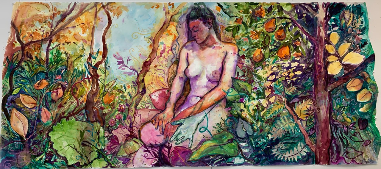 """""""Seeded"""" by Lucy Plowe. Watercolor and oil pastel on paper, 42x90"""". 2019. Click image to view on her website."""
