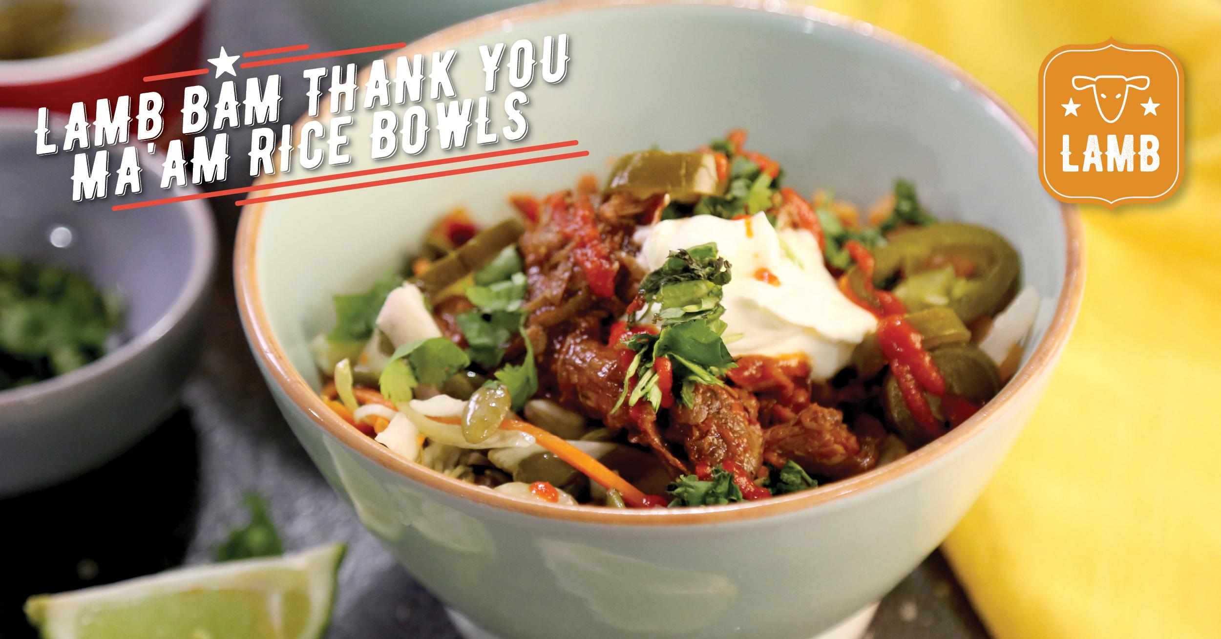 Lamb Bam Thank You Ma'am Rice Bowls