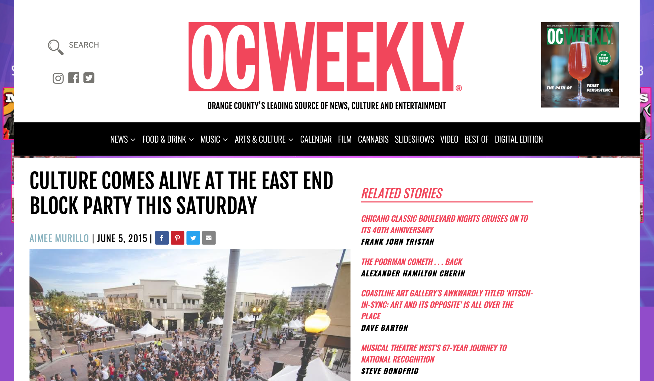 "OC Weekly 2015 - ""CULTURE COMES ALIVE AT THE EAST END BLOCK PARTY THIS SATURDAY"""