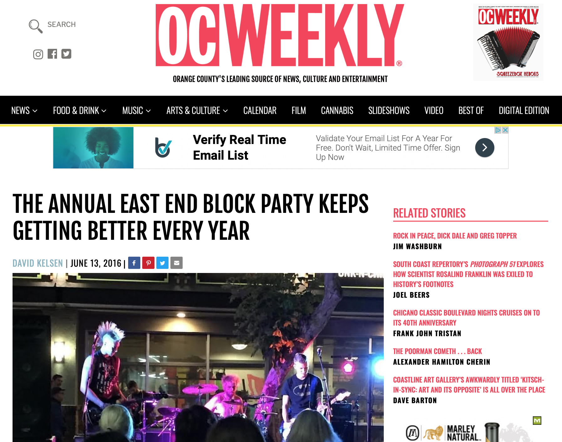 "OC Weekly 2016 - ""THE ANNUAL EAST END BLOCK PARTY KEEPS GETTING BETTER EVERY YEAR"""