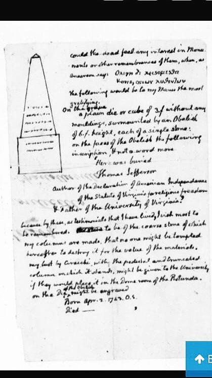 Thomas Jefferson, no date, Epitaph. Manuscript/Mixed Material. https://www.loc.gov/item/mtjbib024905/