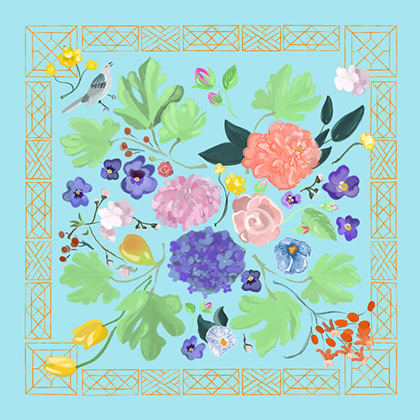 """""""Little Mountain"""" Scarf in Light Blue with Orange by Betsy Gibson Design. Inspired by my lifelong long of the Gardens at Monticello and by Jefferson's introduction of particular flowers, fruits and trees to American soil. Please see  Product Page  for Preorder Inquiries."""