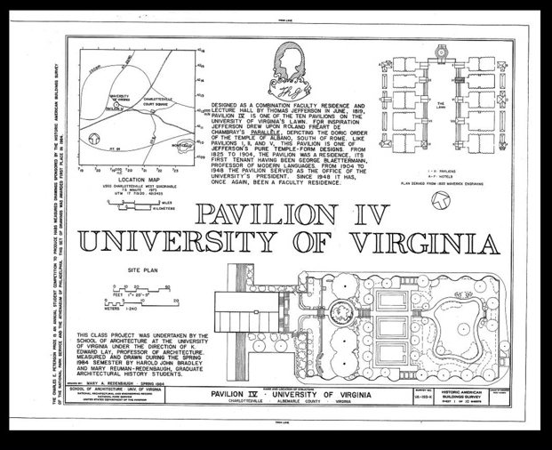 Historic American Buildings Survey, Creator, Thomas Jefferson, K Edward Lay, School Of Architecture University Of Virginia, Harold J Bradley, and Mary A Reuman-Redenbaugh. University of Virginia, Pavilion IV, East Lawn, University of Virginia campus, Charlottesville, Independent City, VA. Charlottesville Independent City Virginia, 1933. Documentation Compiled After. Photograph.  https://www.loc.gov/item/va1303/