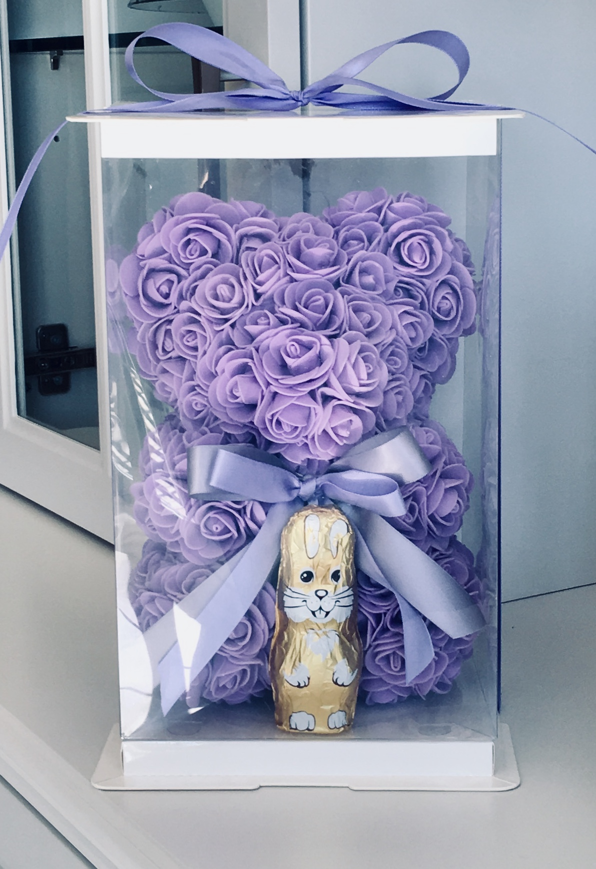 Featured Product - This adorable Rose Bear is only here until Easter.Box and chocolate bunny included. 24cm:Available in other colours.$45.00