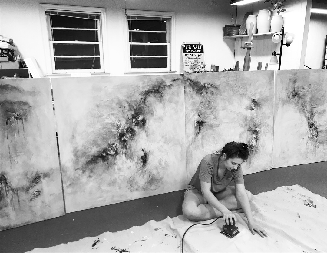 Victoria Phillips in her studio working on An Abstract Narrative, 2018.
