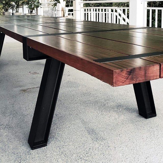 4 meter long outdoor table made from 100+ year old reclaimed, red Ironbark - on a powder coated steel frame base. The timber was sourced from an old bridge in the Royal National Park - so its pretty sweet to see it back where it came from with a whole new use. . . . . #reclaimedtimber #australiantimber #customfurniture #outdoortable #largetable #interiordesignsydney #sydneyarchitecture #designfiles #yellowtrace #architecturelovers #woodentable #sydneyfurniture #shoplocal #customdesigns #outdoorfurnituresydney