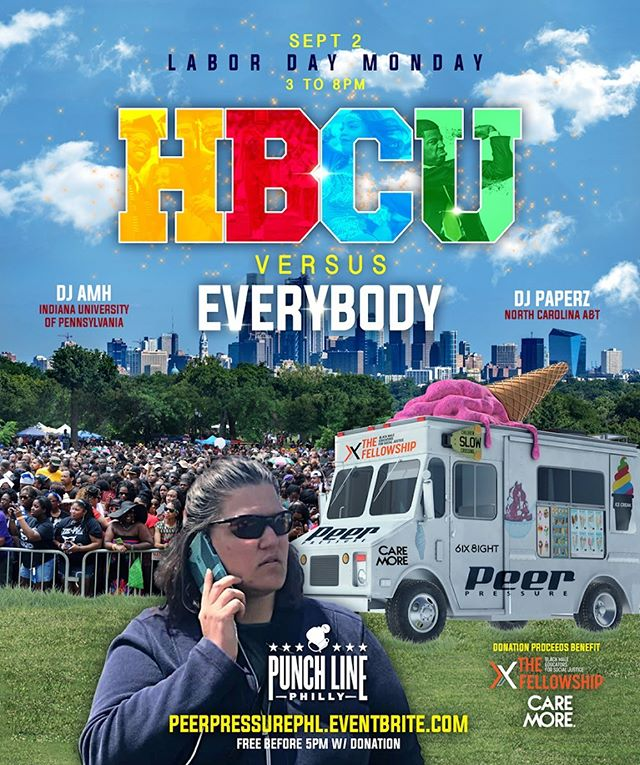 "#EventAlert 🗣: We're teaming up with @6ix_8ight and @fellowshipbmec for the HBCUs vs. EVERYBODY Day Party! 💃🏽🕺🏽 — Grab your paraphernalia and enjoy a special edition of Peer Pressure: HBCUs vs EVERYBODY this beautiful Labor Day holiday weekend! Before you get the wrong idea, ALL ARE WELCOME to attend your favorite ""game night"" themed day party. The good folks at @6ix_8ight are taking this time to recognize the institutions solely dedicated to Unifying, Uplifting & Advancing Black Excellence! Between the music, the games, and the bar specials, Punch Line's indoor/outdoor bar and patio is gonna be LITTY! — Attendees are encouraged to bring travel sized toiletries to support #CareMore and/or school supplies for schools in areas of modest means to support @fellowshipbmec! — #philadelphia #laborday #giveback"