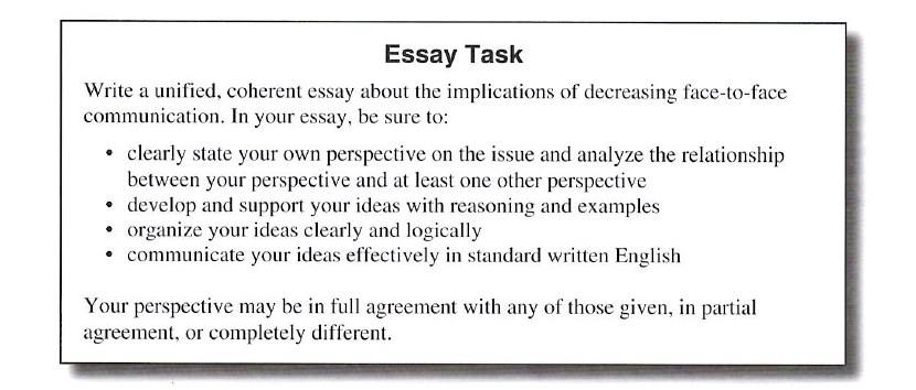 ACT writing essay directions