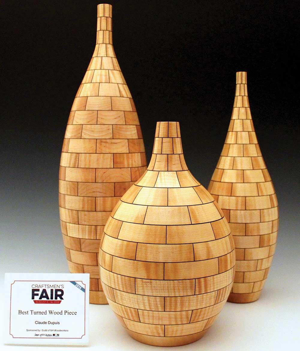 Set of Three Segmented Vases -