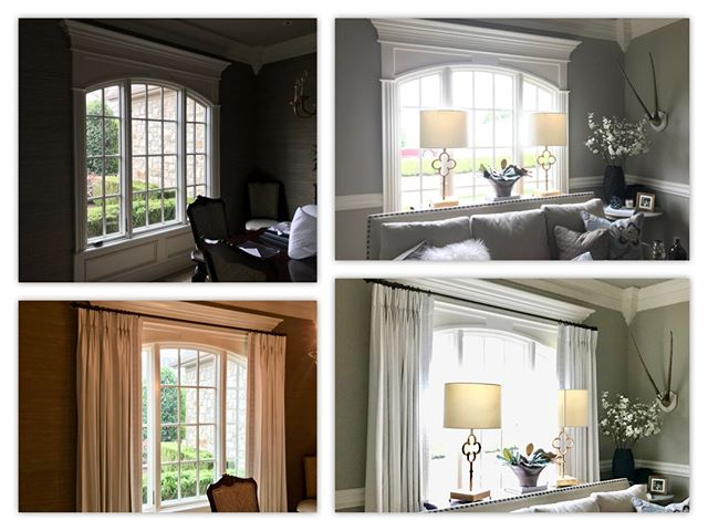 Think that window with amazing trim and crown molding doesn't need drapes?  check out these before and after shots to see how drapes can soften and accentuate the window and molding.