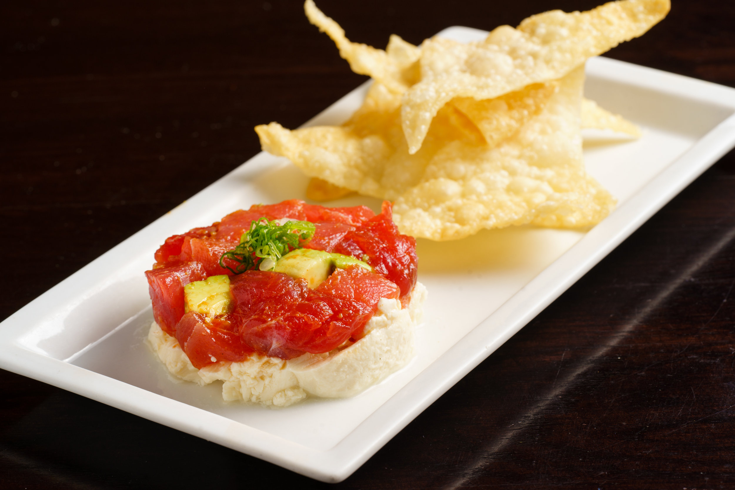 Tuna Tartare with Wonton Chips