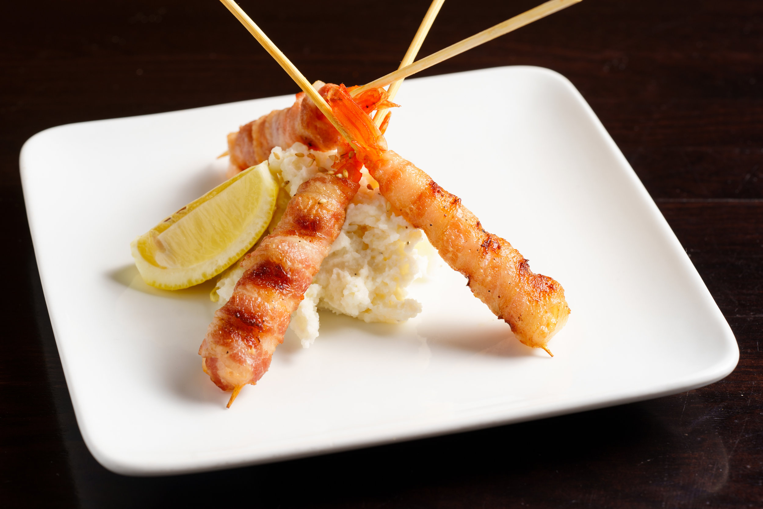Jumbo Shrimp Wrapped in Bacon with Rice