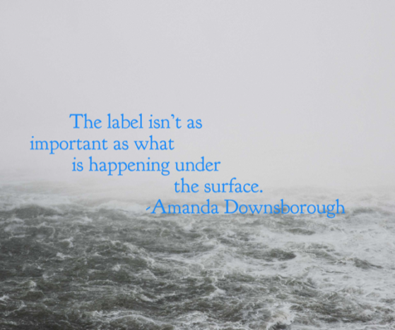 """The label isn't as important as what is happening under the surface."" -Amanda Downsborough"