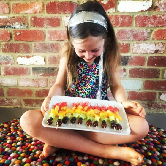 Interview with Amanda Downsborough- Rainbow fruit kebabs that we made for Elijah's kindy graduation!